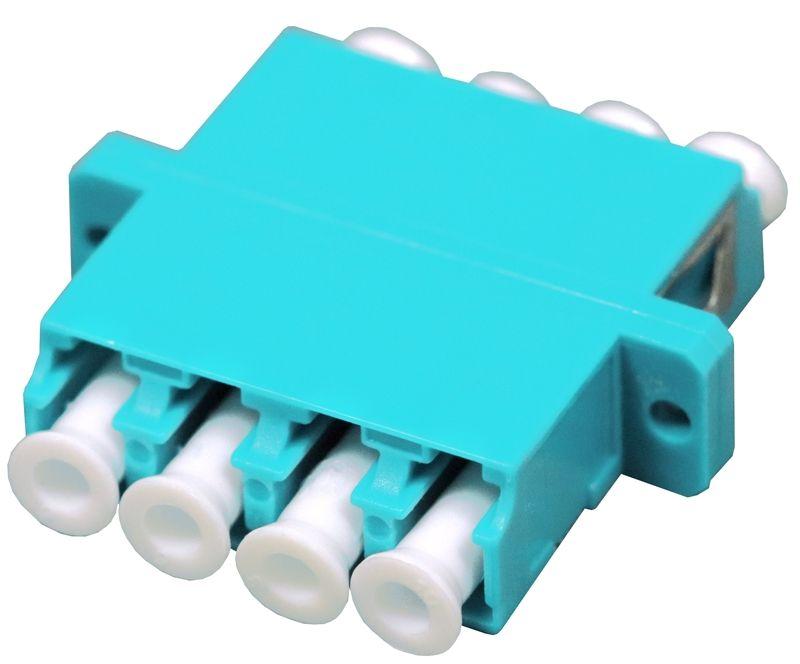 Fiber Optic Adapter LC Multimode (OM3/OM4) Quad Full Flange